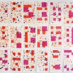 Patrick Tabarelli, {CA}, 2015, liquid watercolor on cotton paper, 210x240cm (70x40cm each)